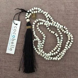 NEW cocobelle Black Tassel Long necklace